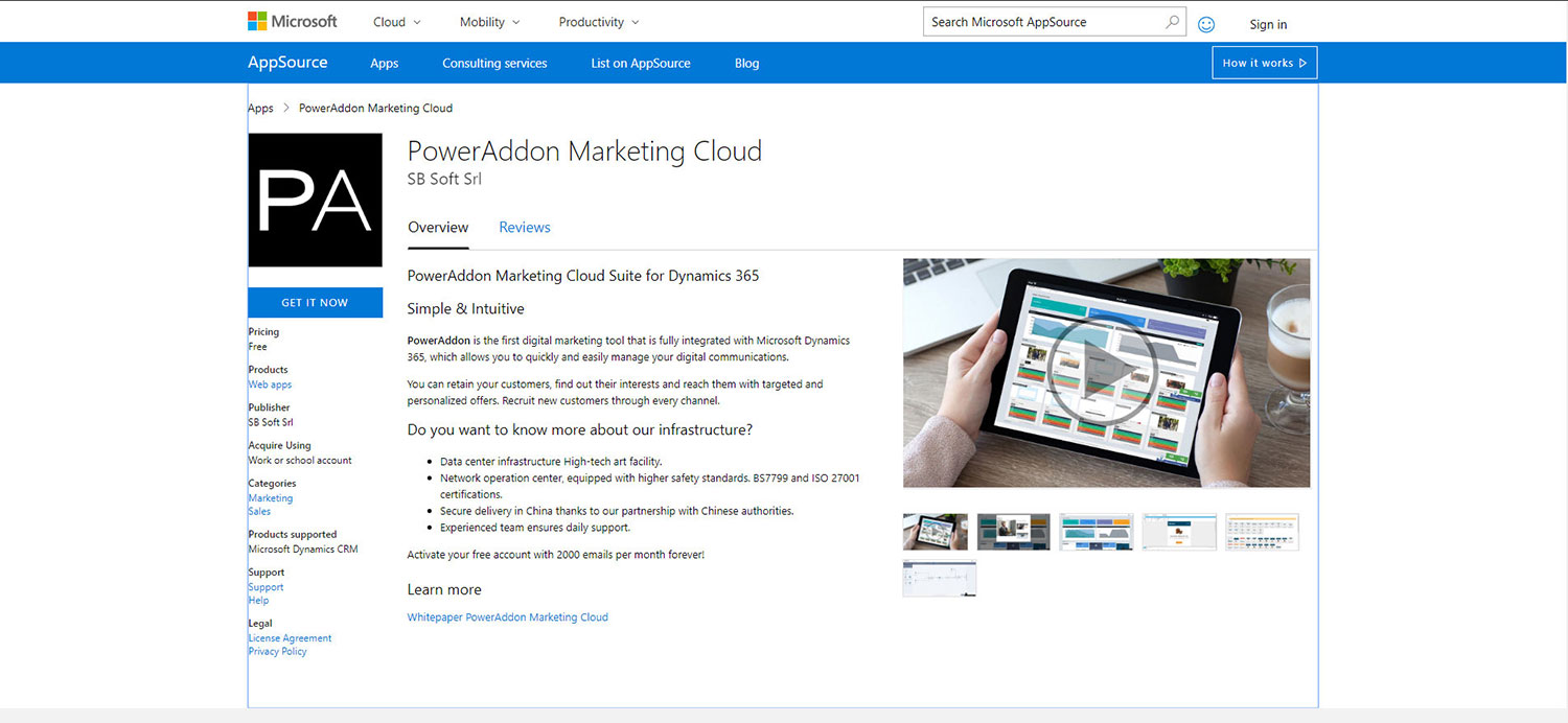 PowerAddon Marketing Cloud has beed added to Microsoft's AppSource